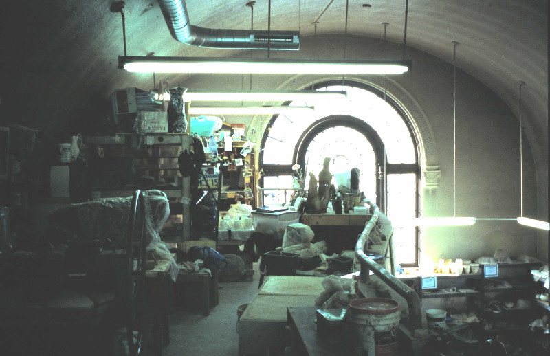 Rick Shelley's studio at Baltimore Clayworks in the 1980's and 90's.